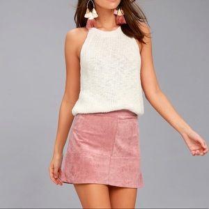 Suede Mini Skater Skirt